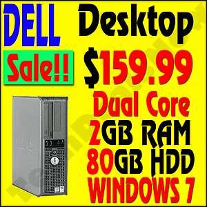 FAST DELL DUAL CORE DESKTOP COMPUTER PC 2GB 80GB WINDOWS 7