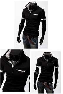 Mens Polo Shirts Slim Casual Shirts Fit Plaid Short sleeved T shirts