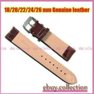 New 18 20 22 24 26mm Black Brown Italian Genuine Leather Ladies Mens