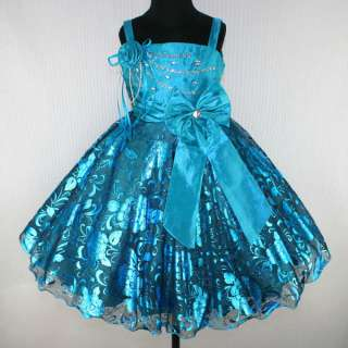 Girls Party Dress on Girl Wedding Pageant Party Dress Outfit Children Wear Blues Sz 6 E100