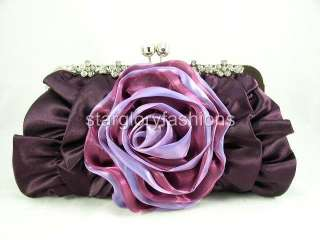 Purple Rose Crystal Flowers Frame Wedding/Party Clutch ECR 092377