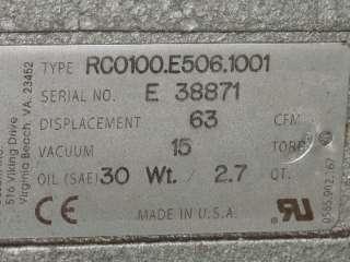 BUSCH RC0100E5061001 VACUUM PUMP 5 HP