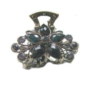Gold Crystal Rhinestone Metal Hair Claw Clip (Hair Jewelry) (BLACK