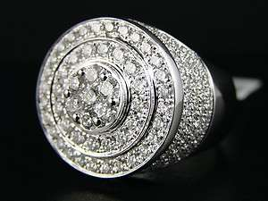 MENS 14K WHITE GOLD ROUND CUT VS DIAMOND PINKY RING 4.5