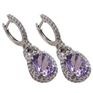 14 KT WHITE GOLD PURPLE AMETHYST DIAMOND DROP EARRINGS Jewelry