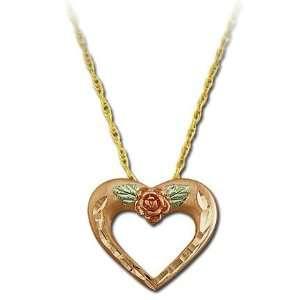 Landstroms Black Hills Gold Mothers Pink Gold Heart Pendant   PE850