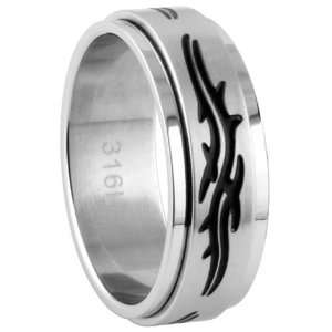 316L Stainless Steel Spinner Ring   Size 10: Jewelry