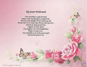 Junior Bridesmaid Wedding Poem Personalized Name Print