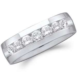 Men Diamond Wedding Ring 14k White Gold Engagement Band (0