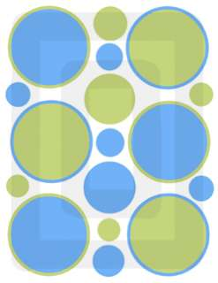 GREEN BLUE CIRCLE POLKA DOTS BOY WALL STICKERS DECALS
