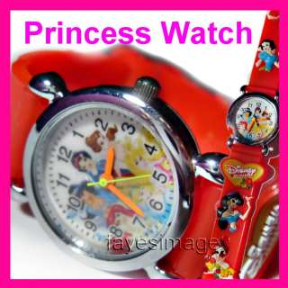 Princess Princesses 3D Children Kids Wrist Watch Xmas Gift red
