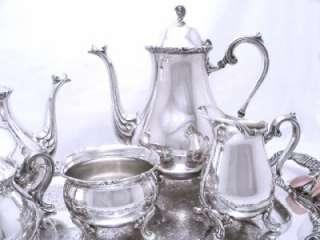 Gorgeous WILCOX Silver Tea & Coffee Set W/ Large Fancy Tray