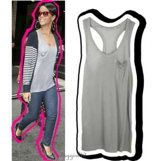 Grey Oversized Sheer Long Pocket Tank Top/Tunic/Dress S
