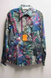 Paisley Geo Blue Pink Green Etro Blouse Shirt 46 Top NTW Cotton