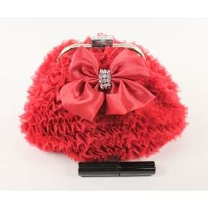 Red Sophisticated Clutch Evening Purse with Roses Detail