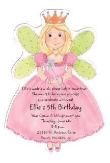 Die Cut fairy princess Party Invitations fairy invitations