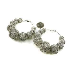 Silver Color MESH Balls Beads Basketball Wives Poparazzi Hoop Earrings