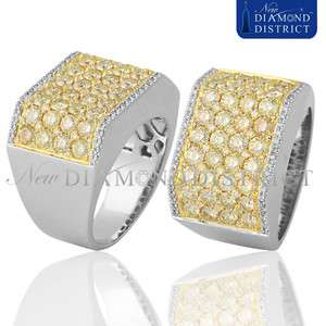 GOLD 5.15CT TOTAL NATURAL FANCY YELLOW DIAMOND PINKY BAND RING