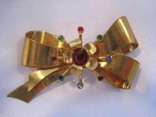 Vintage Rhinestone Bow Brooch Pin Gold Tone