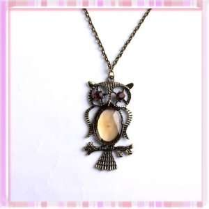 Fashion Bronze Cute Owl Red Rhinestone Acrylic Pendant
