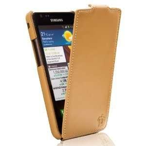 S2 I9100 Tradition Ultra Slim Leather Flip Case Camel Electronics