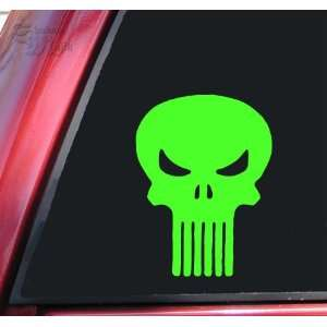 Punisher Skull Vinyl Decal Sticker   Lime Green