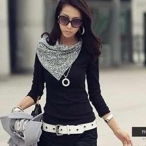 New Korea Womens Fashion Black Zebra Scarf T Shirt
