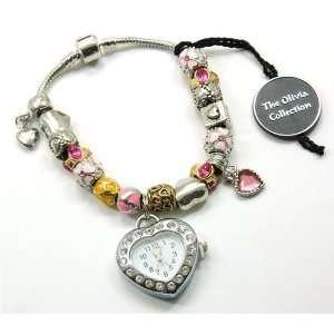 TOC BEADZ Branded Pink & Gold Heart Watch Bead Bracelet Jewelry