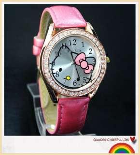 5pcs Fashion HelloKitty lovely Ladies Crystal stone Quartz Watch