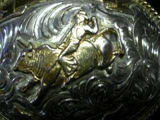 VINTAGE GERMAN SILVER BULL RIDER COWBOY BELT BUCKLE  FROM ALPACA
