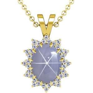 Yellow Gold Oval Cut Blue Sapphire And Round Diamond Pendant Jewelry