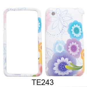 Apple iPhone 3G / 3GS Four Colorful Flowers on White Hard Case/Cover