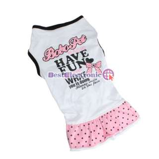 Pet Dog Apparel Clothes lovely Skirt Printed Dress cotton White 5 size
