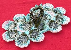 RARE AUTHENTIC ANTIQUE FRENCH MAJOLICA OYSTER PLATTER FIVES LILLE 1880