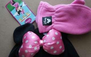 Black Minnie Mouse Fleece Hat & Mitten Set One Size Girls Bow