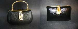 BLACK LEATHER & CRYSTAL MINAUDIERE BAG OVAL RECTANGULAR