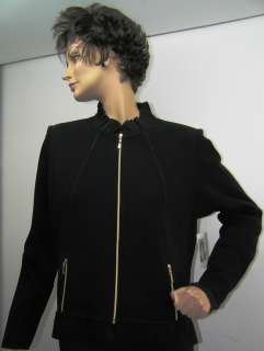 MISOOK Zip Jacket with Ruffle Collar Womens Extra Large XL New