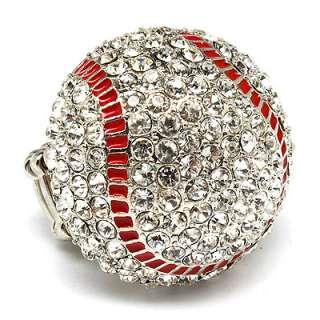 Sport Football Crystal Rhinestone Stretch Ring Brown