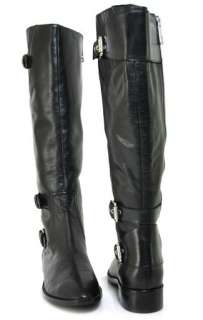 NEW MICHAEL KORS TATUM BLACK LEATHER TALL RIDING BOOTS SIZE 6.5