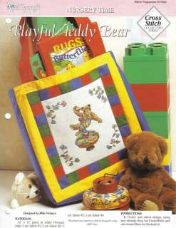 PLAYFUL TEDDY BEAR Baby Child Cross Stitch Pattern