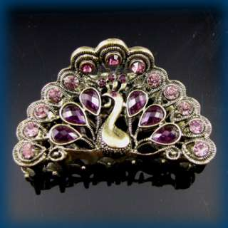 1pc rhinestone crystal Antiqued peacock hair claw clip
