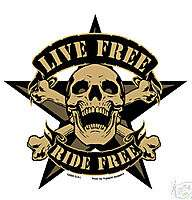 LIVE FREE RIDE FREE STICKER Skull Tattoo RARE NEW Decal