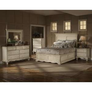 White Bedroom Furniture on Queen Size 5 Piece Bedroom Set In Antique White Hillsdale Furniture