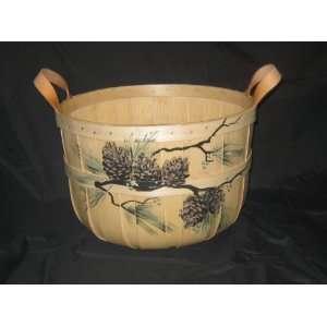 Half Bushel Basket Hand Painted with Pine Cones