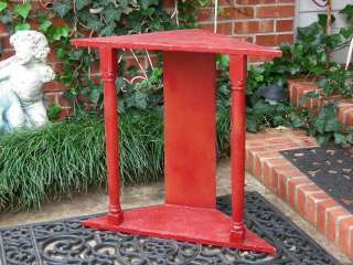 FARM HOUSE PRIMITIVE ANTIQUE CORNER TABLE~OLD RED PAINT!~RUSTIC~WOOD
