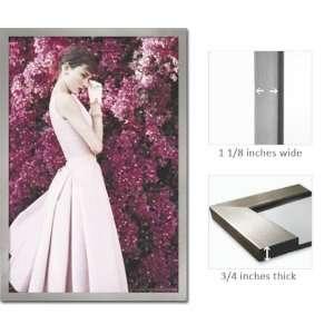 Silver Framed Audrey Hepburn Pink Dress Movie Poster