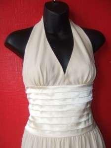 CHIFFON SATIN HALTER gown full length formal dress $272 nwt 2