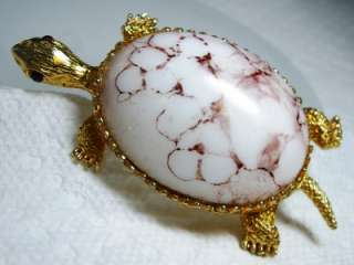 Gold Tone & Stone Jelly Belly Turtle Pin Brooch~Red Rhinestone Eyes
