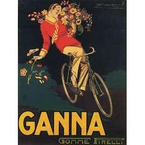 BIKE GANNA BOY FLOWERS ITALY ITALIAN 15 X 18 VINTAGE