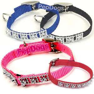 Jewel Glamour Nylon Toy Dog Puppy Rhinestone Collar XS